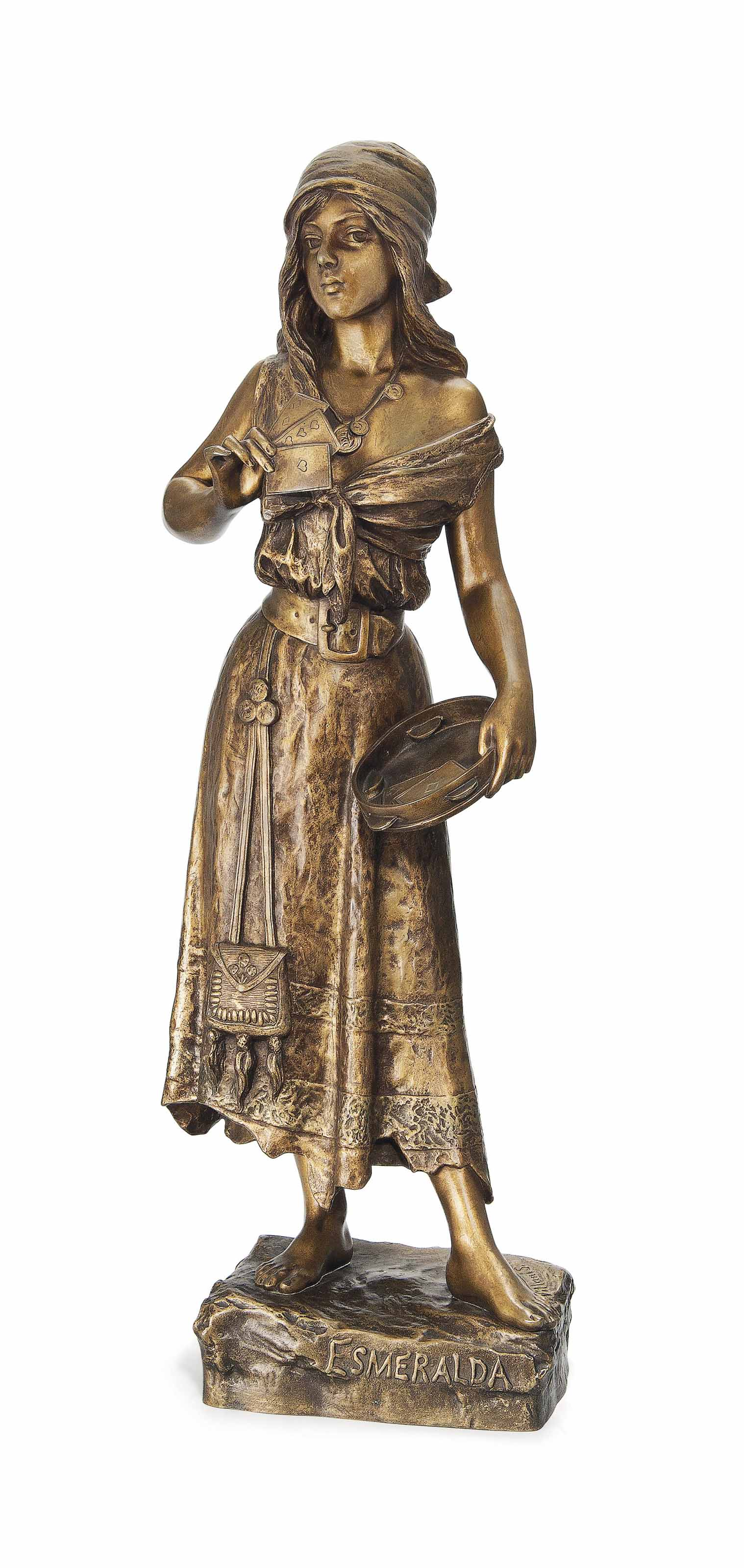 A FRENCH BRONZE FIGURE ENTITLED 'ESMERALDA'