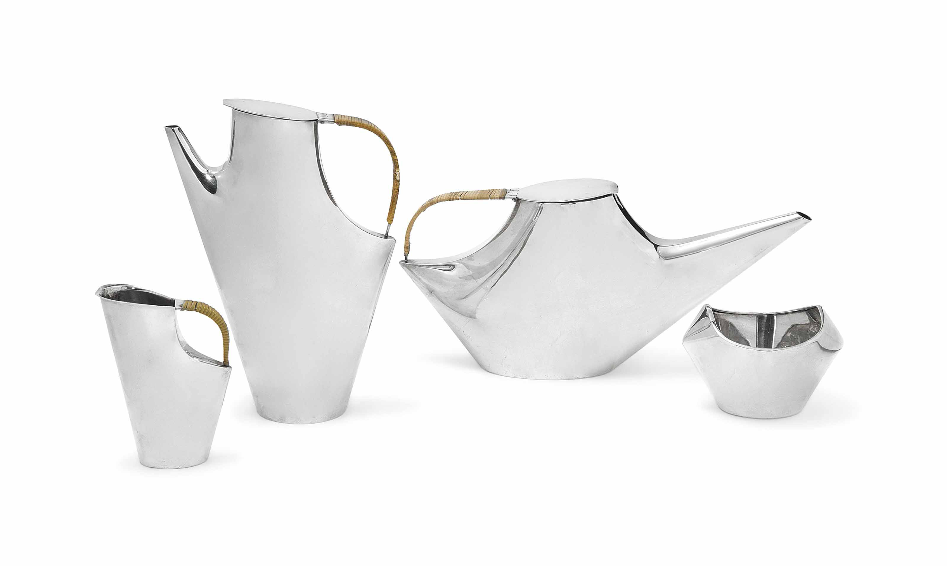 A LINO SABATTINI (B.1925) SILVER PLATED 'COMO' TEA AND COFFEE SET MADE BY CHRISTOFLE