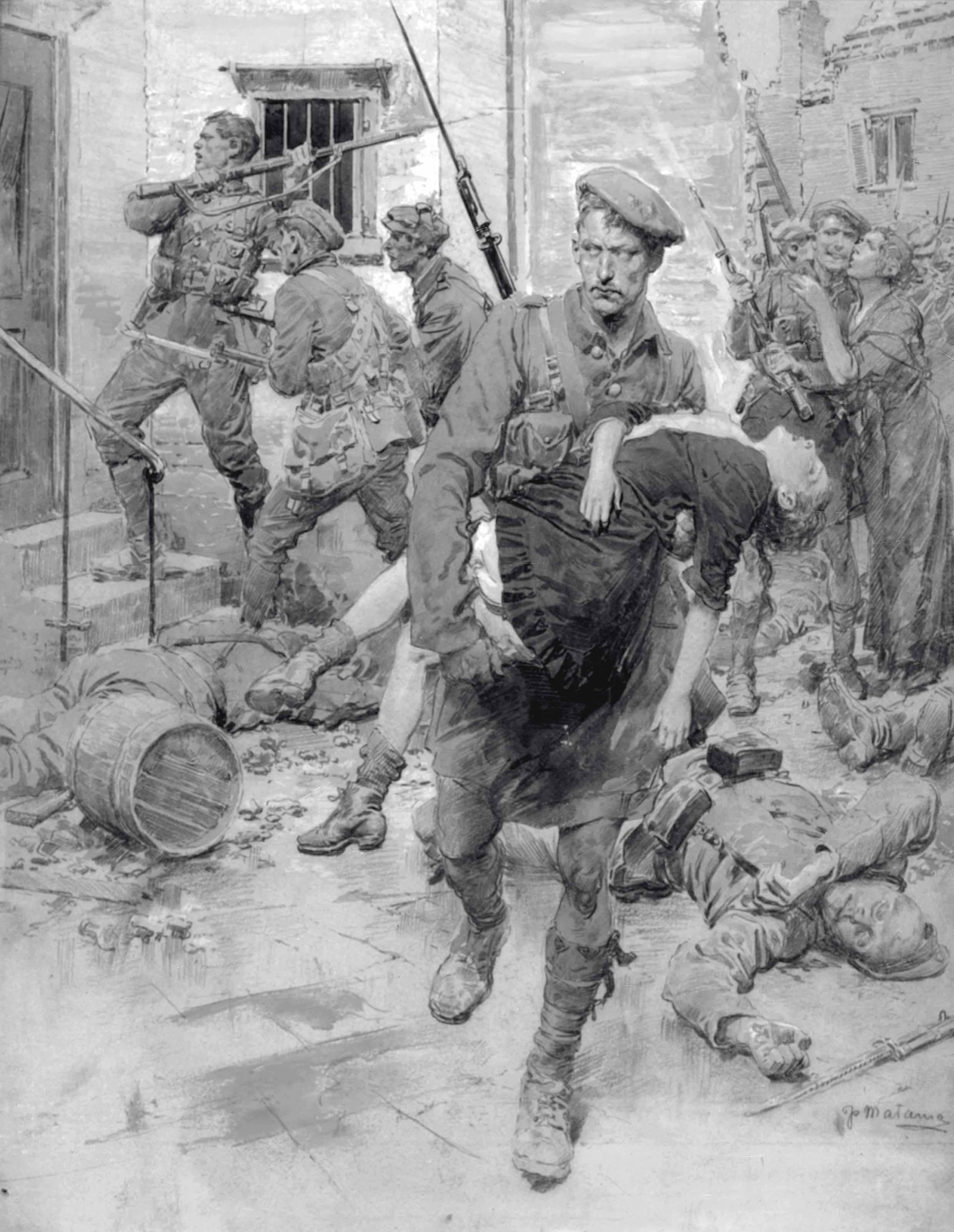 A Scottish regiment in the village of Loos rescuing a little French maiden (illustrated); The returned soldier as munition worker; and The piercing of the German fortified defensive line on the Somme: Cleaning out a dug-out for 800 men after the advance on the Western Front