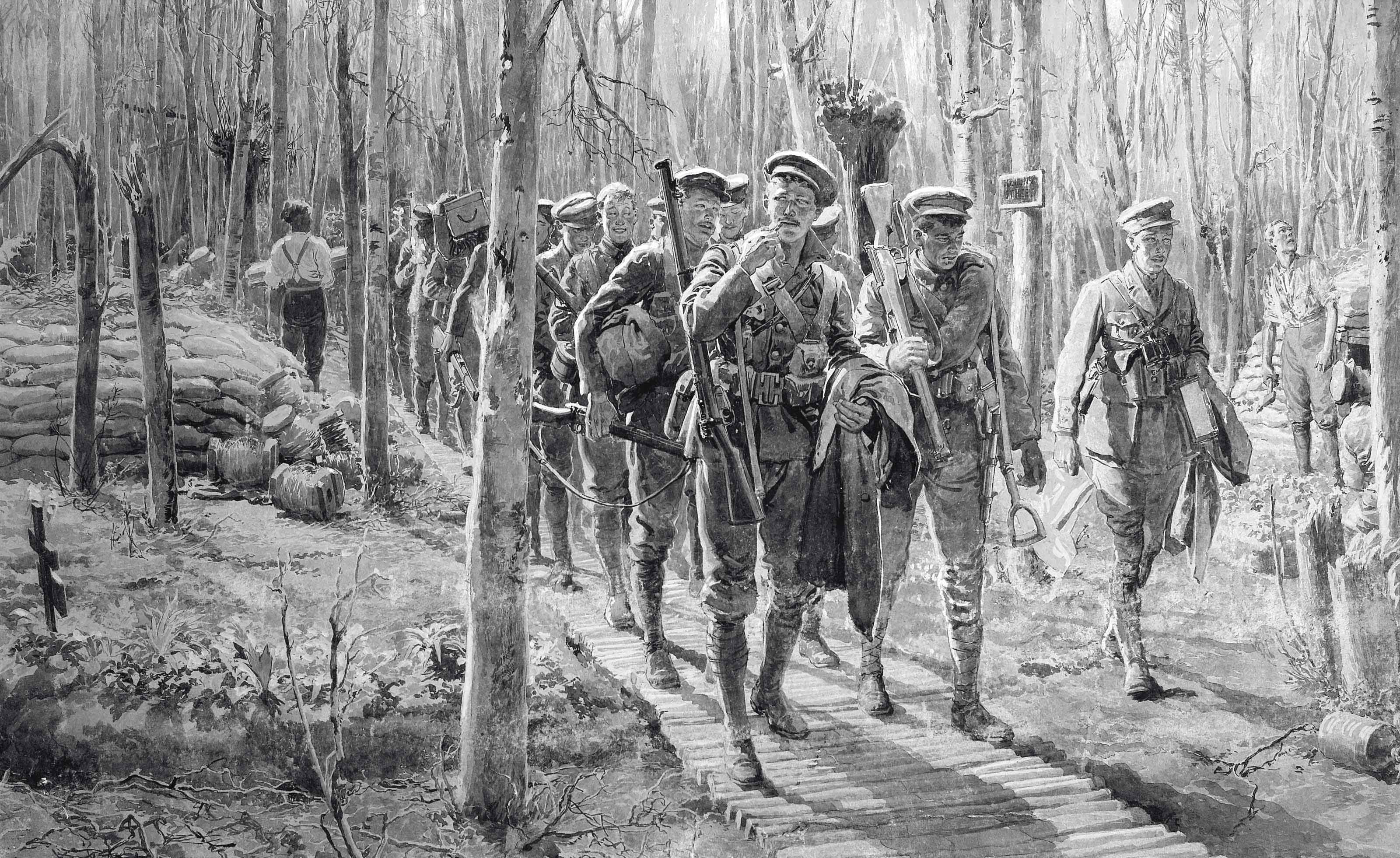 Soldiers in woodland near Ypres marching along 'Regent Street', 1915