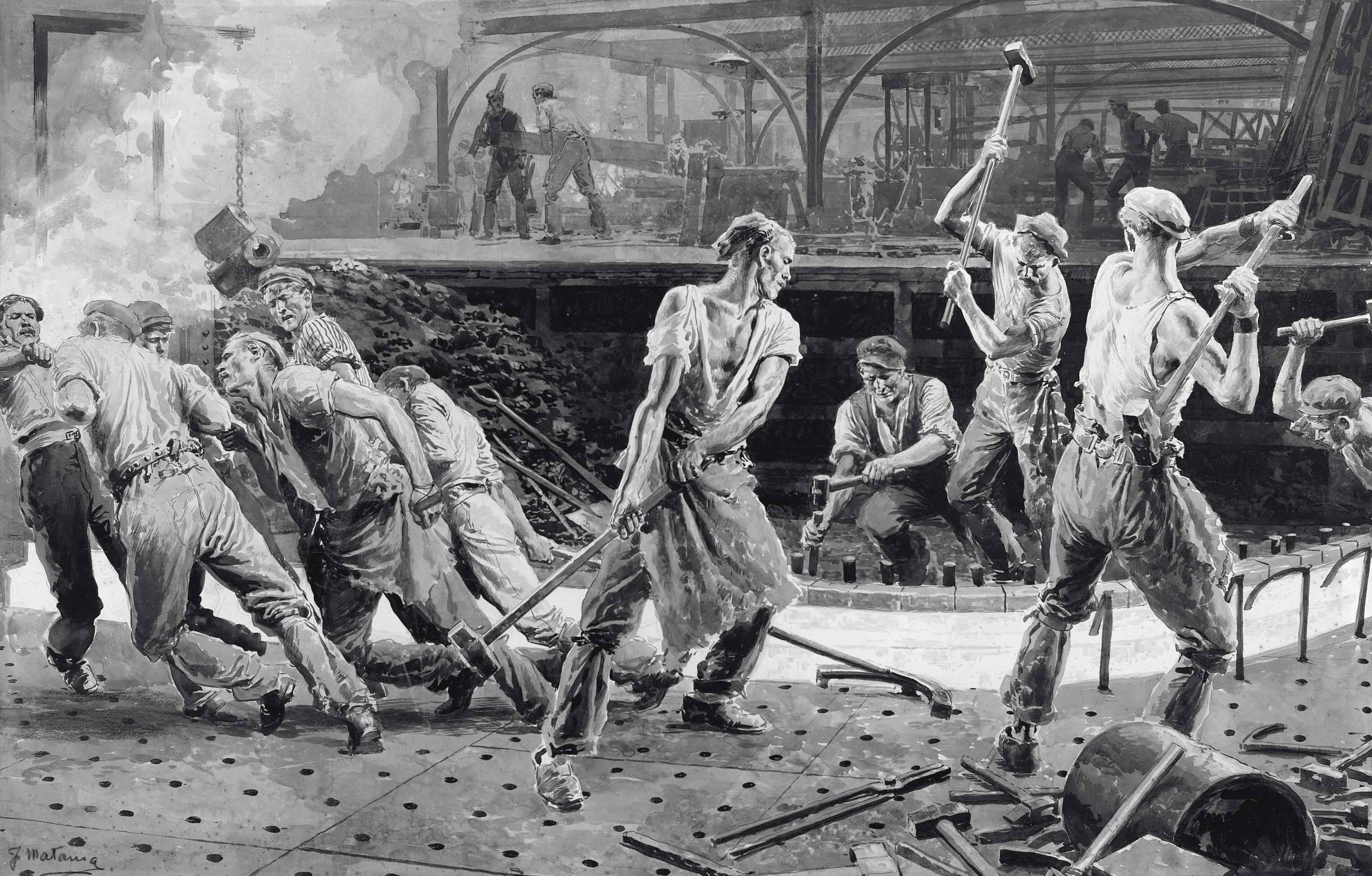 Steel workers (illustrated); Workers at the Royal Mint, 1911; Women churning butter; A Glassblowing factory; and Factory workers with hammers