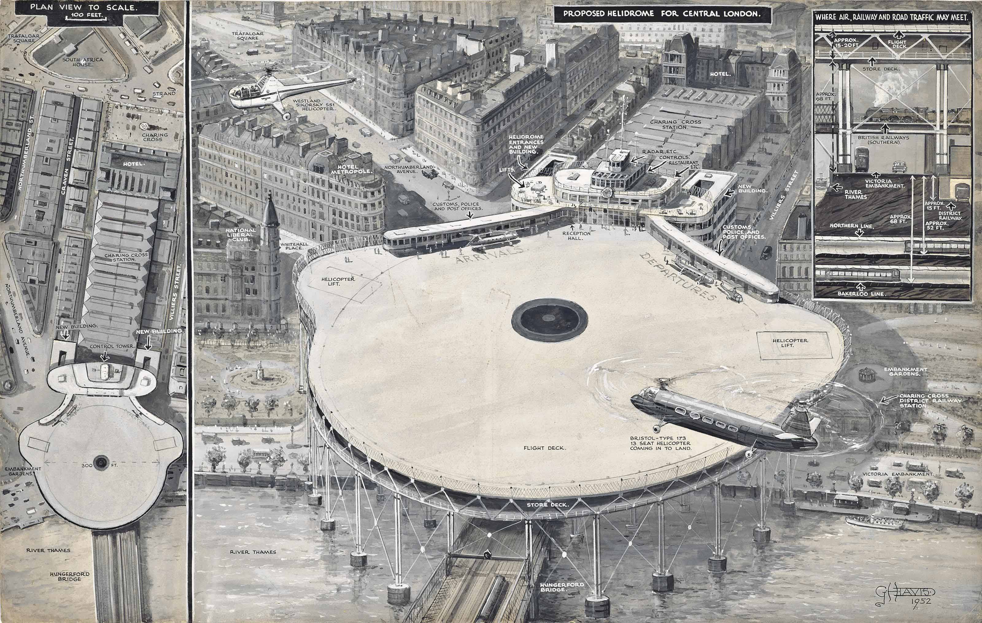 """A vision of the future - An airport for helicopters in the heart of London: The proposed plan for a """"helidrome"""" at Charing Cross diagrammatically explained (illustrated); and As it will be—London's new airport at Gatwick, which was to be opened by the Queen on June 9: A drawing showing the easy access to road and railway"""