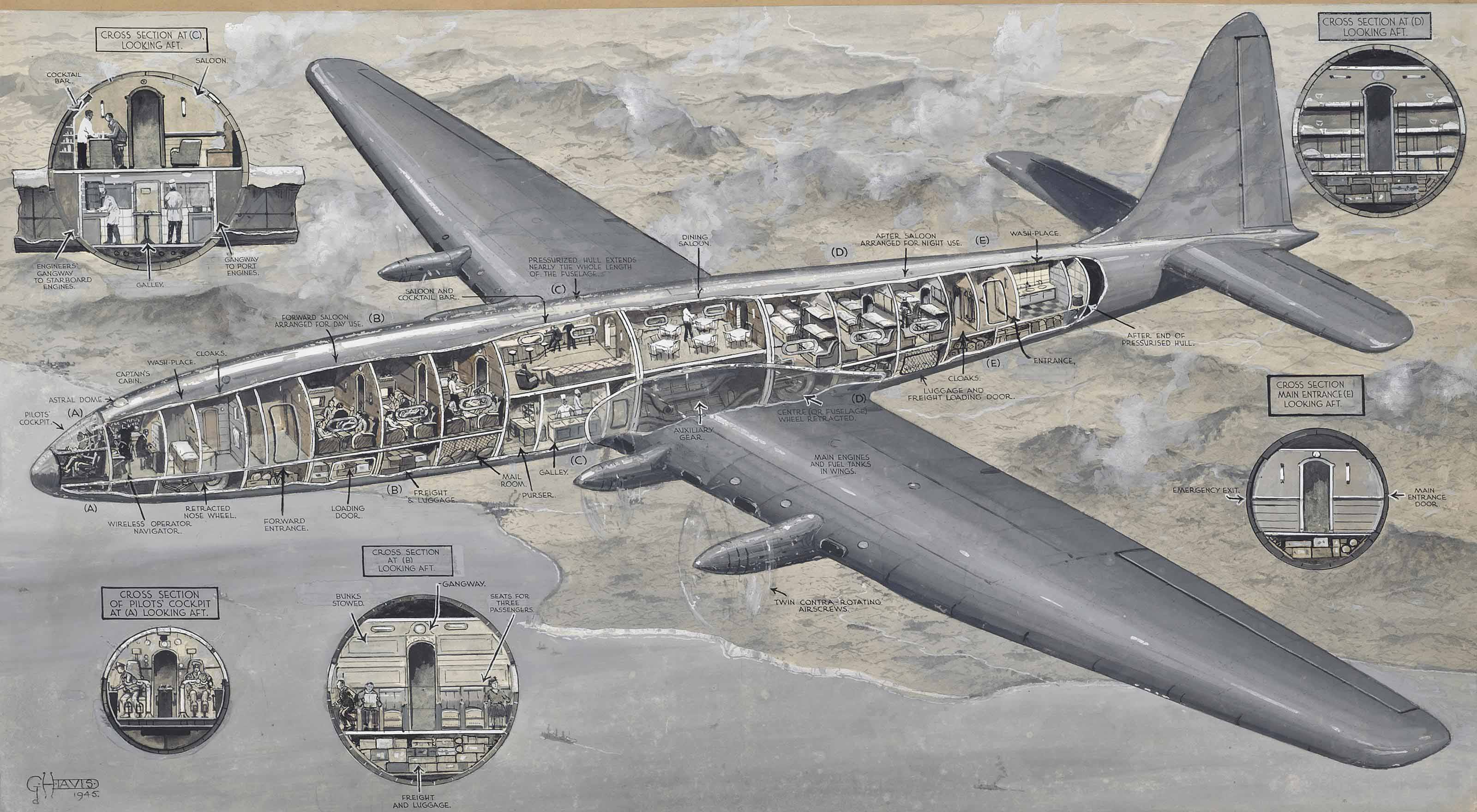 The 'Bristol Brabazon 1' airliner, 1945 (illustrated); The modern airliner 'Britannia', 1953; The 'Comet 4' passenger plane, 1956; The evolution of the aeroplane cockpit: From the 1909 Bleriot to the 1938 De Havilland; and A depiction of 'British aircraft of tomorrow', 1961