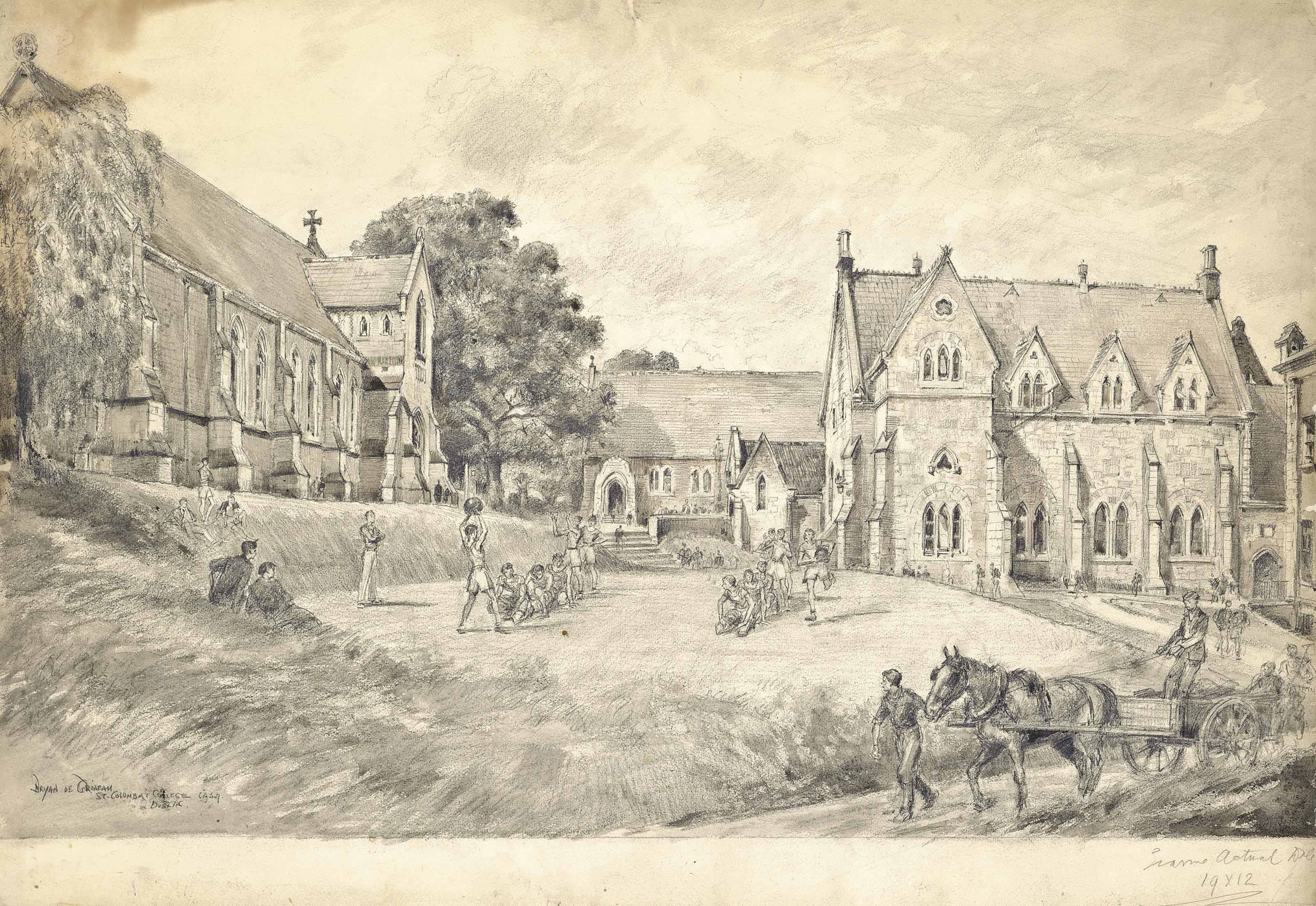 The famous Irish public school which celebrated its centenary this year: St. Columba's College, a view from the east, showing (left) the chapel, and (right) the dining-hall