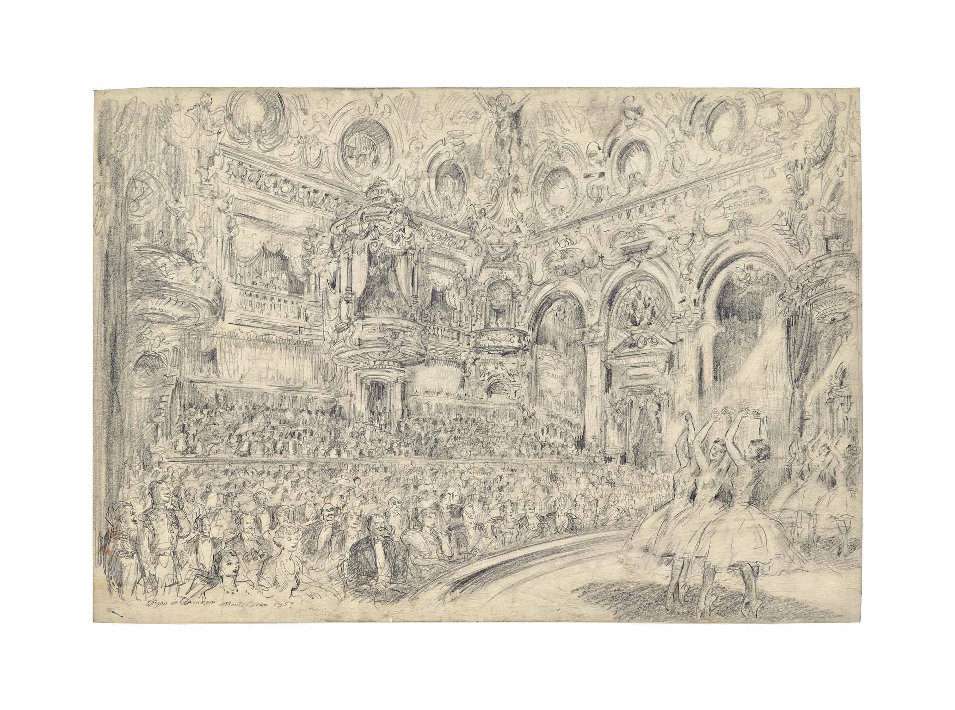 An oasis of gaiety and splendour amid the general world gloom: A ballet performance in the Little Golden Theatre of the Casino at Monte Carlo