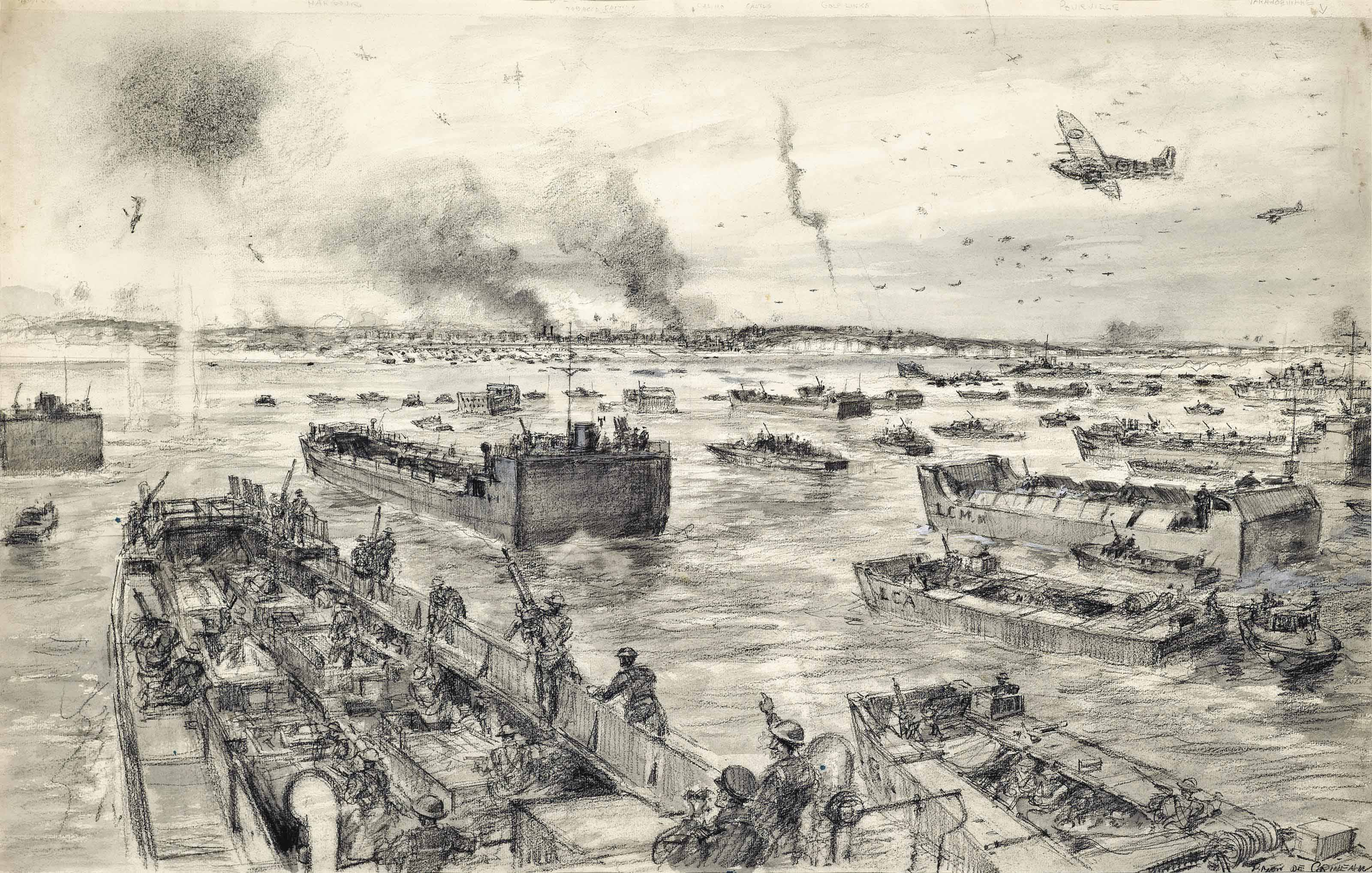 Zero hour off Dieppe: The Combined Services launch their attack at the appointed time and place: With the opening stages of an air battle raging overhead the British Armada sails dauntlessly in, it's cargo of heroic commando troops ready to storm the defences of Dieppe