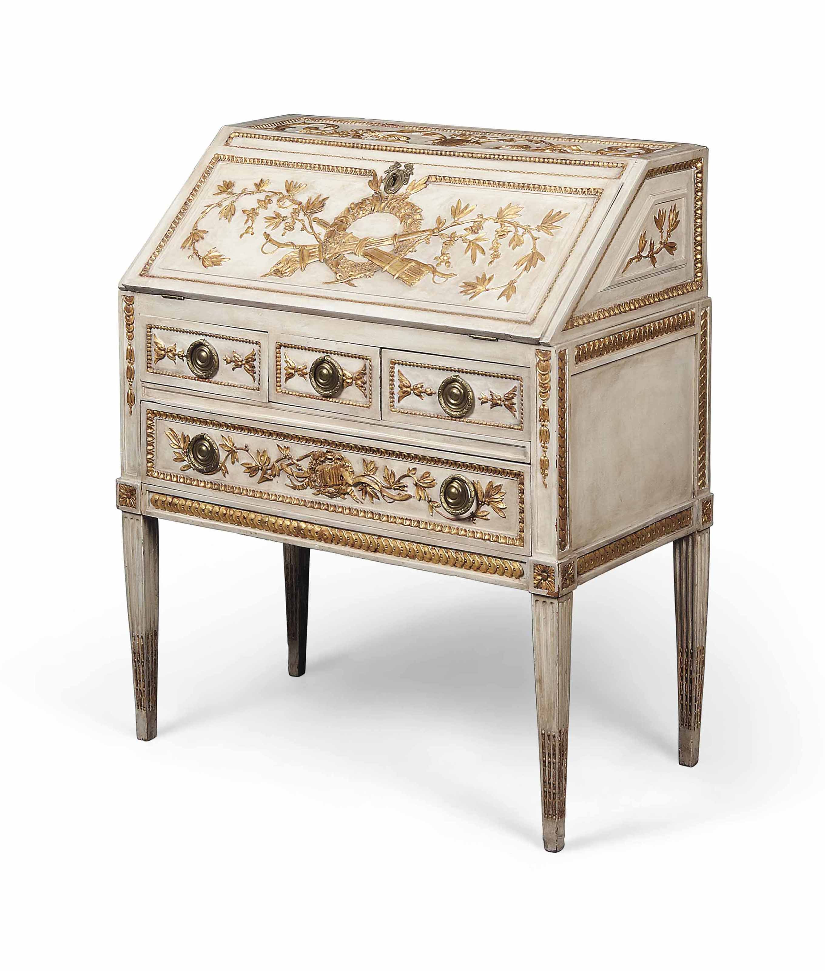 A NORTH ITALIAN GREY-PAINTED AND PARCEL-GILT BUREAU