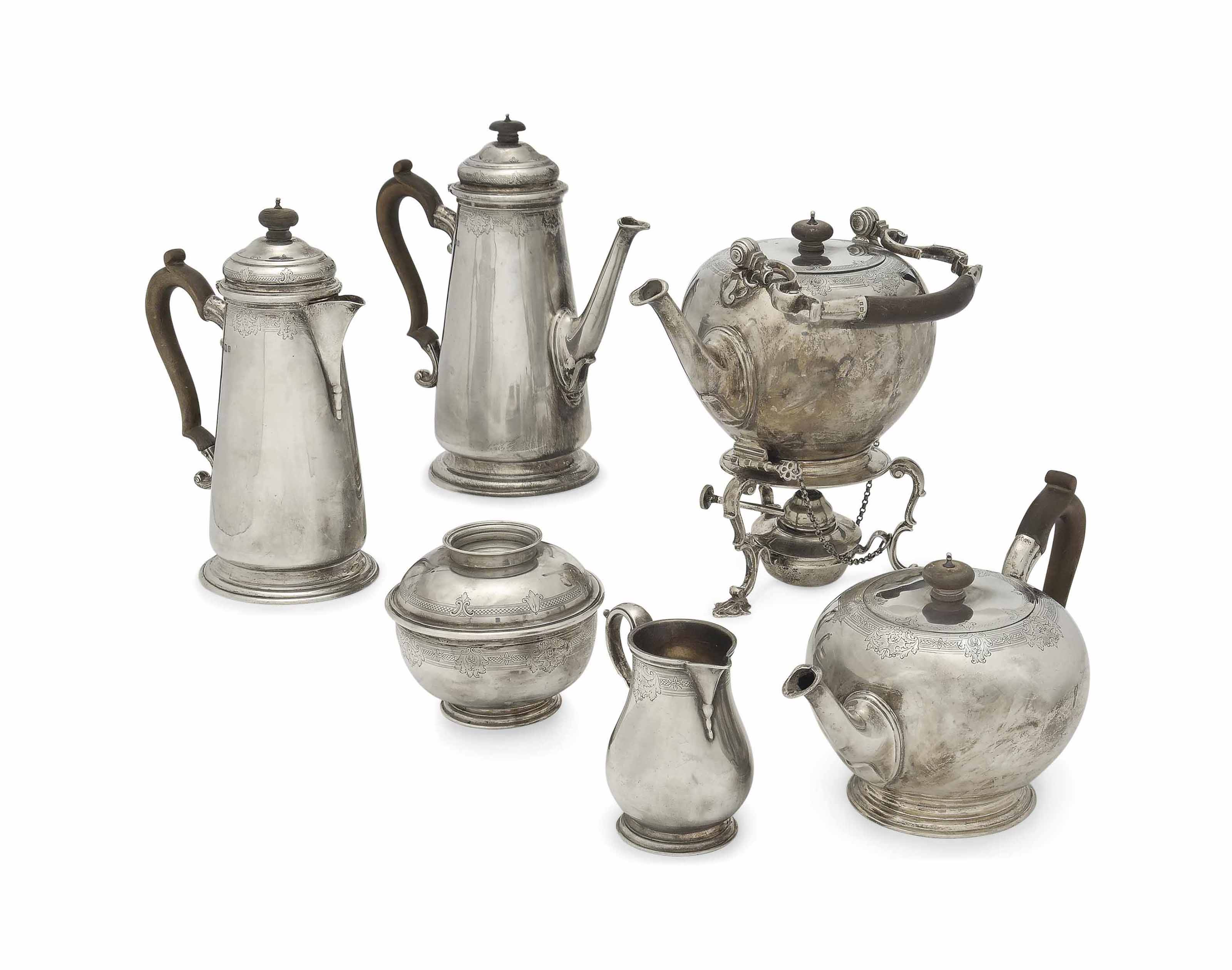 A SIX-PIECE SILVER TEA AND COFFEE SET IN THE GEORGE II STYLE