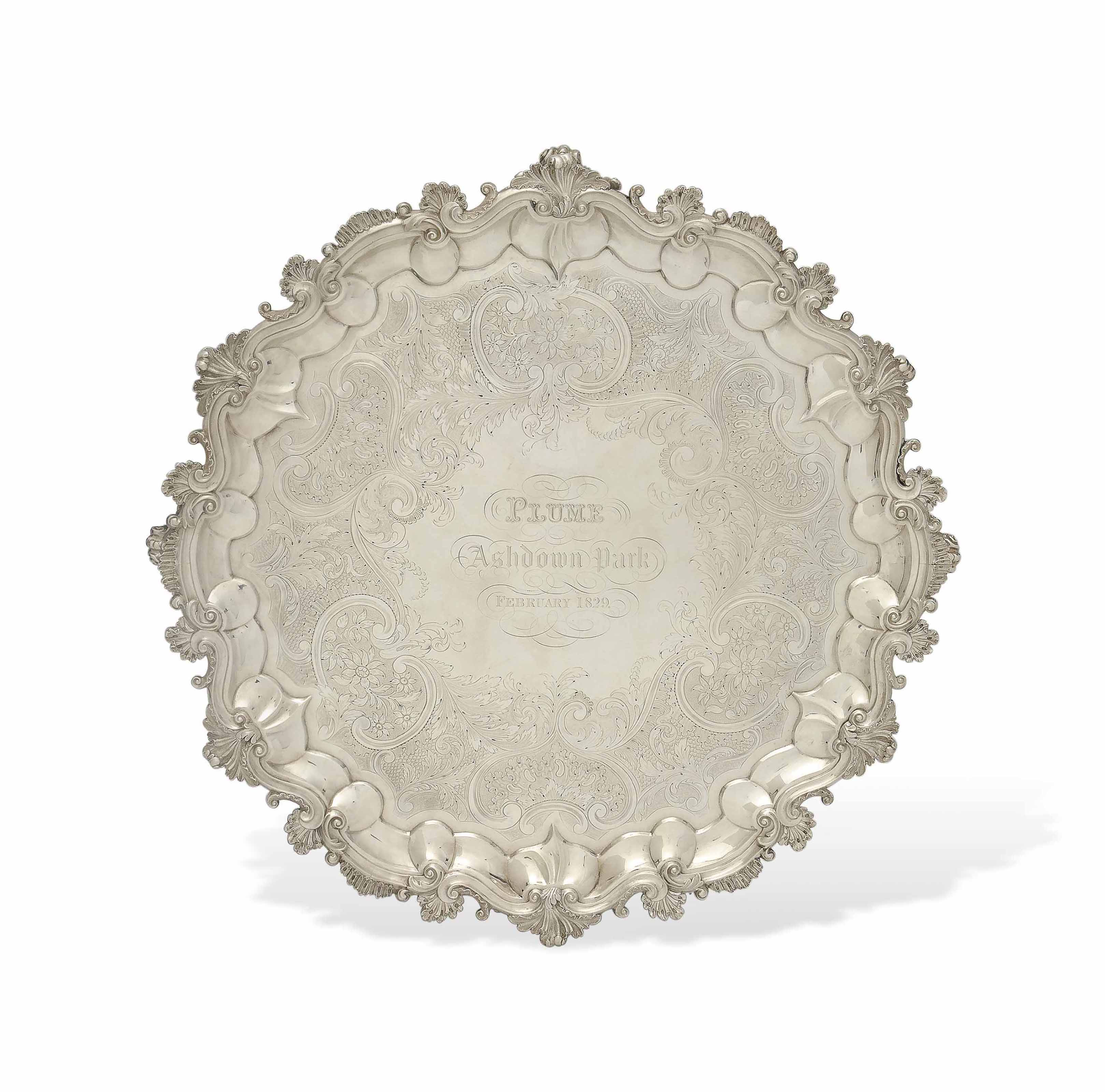 A LARGE WILLIAM IV SILVER RACING PRIZE SALVER