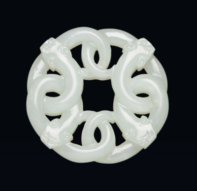 A WHITE JADE 'CHILONG' CARVING