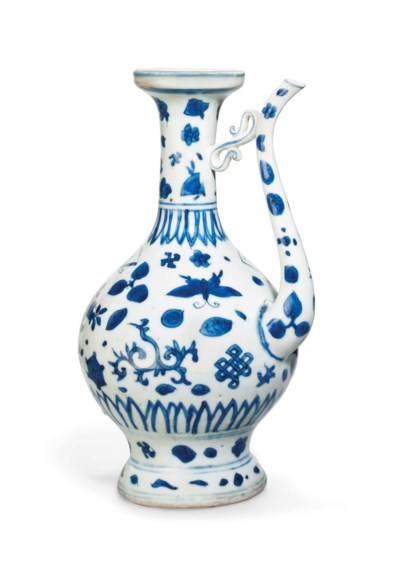 A BLUE AND WHITE EWER