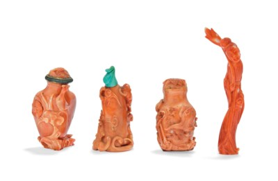 THREE CORAL SNUFF BOTTLES AND