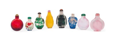 EIGHT GLASS SNUFF BOTTLES
