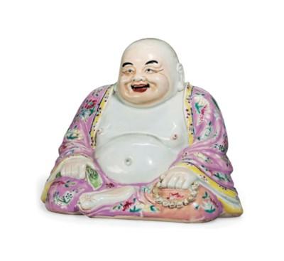 A FAMILLE ROSE FIGURE OF BUDAI