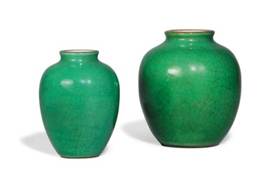 TWO APPLE-GREEN CRACKLE-GLAZED