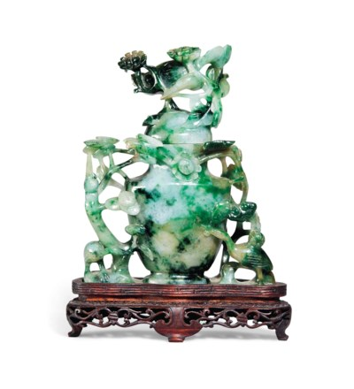 A JADEITE VASE AND COVER