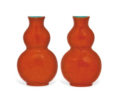 A PAIR OF DOUBLE GOURD CORAL-G