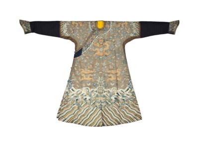 A BROWN-GROUND COURT ROBE FOR