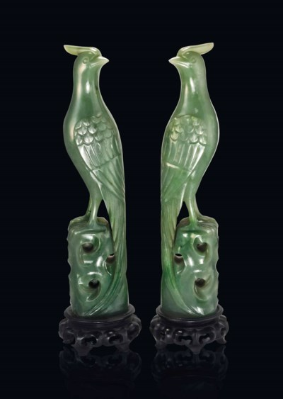 A PAIR OF SPINACH GREEN JADE M