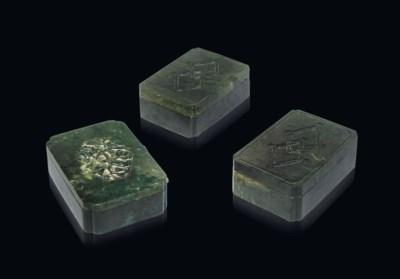 THREE SPINACH GREEN JADE RECTA