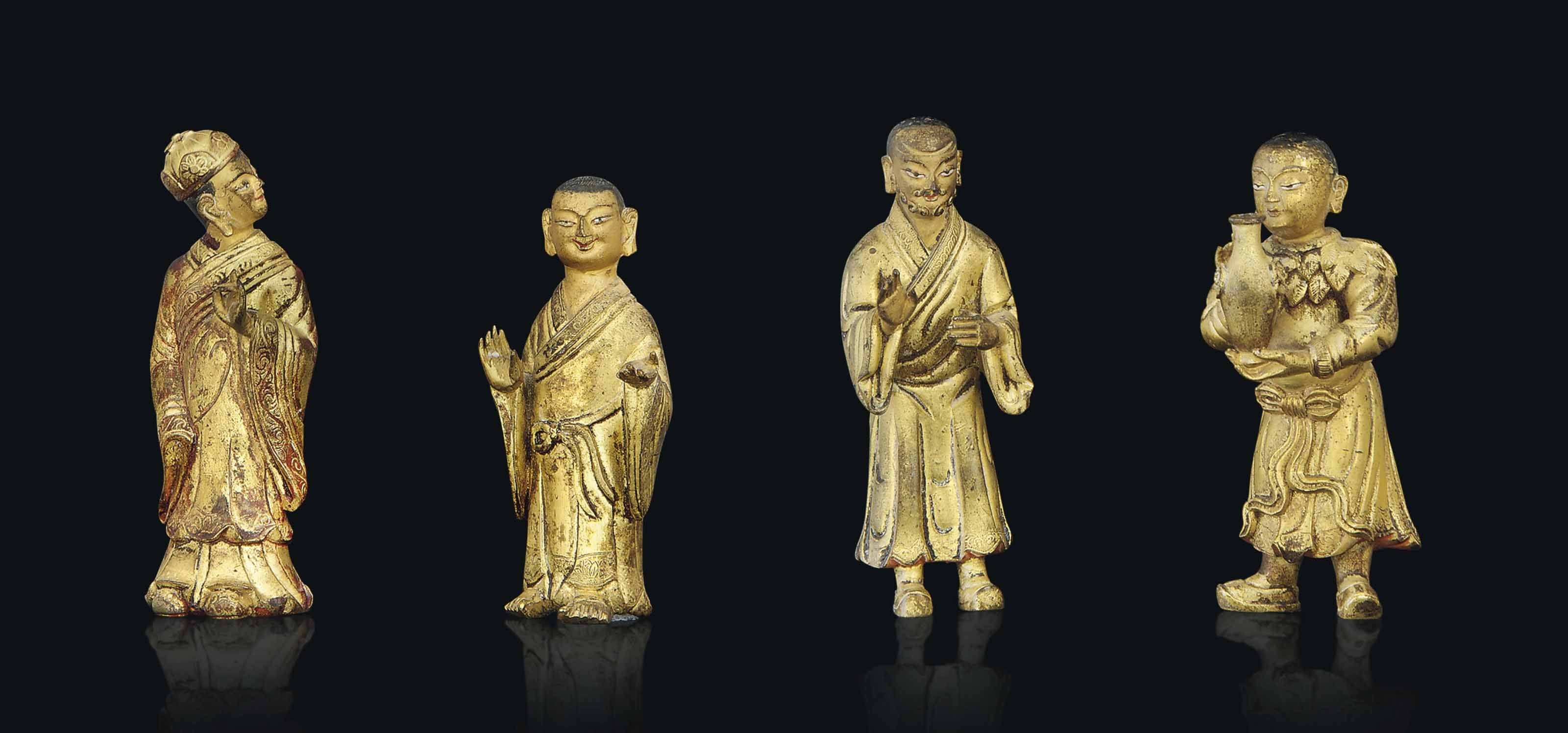 FOUR GILT BRONZE MODELS OF LUO