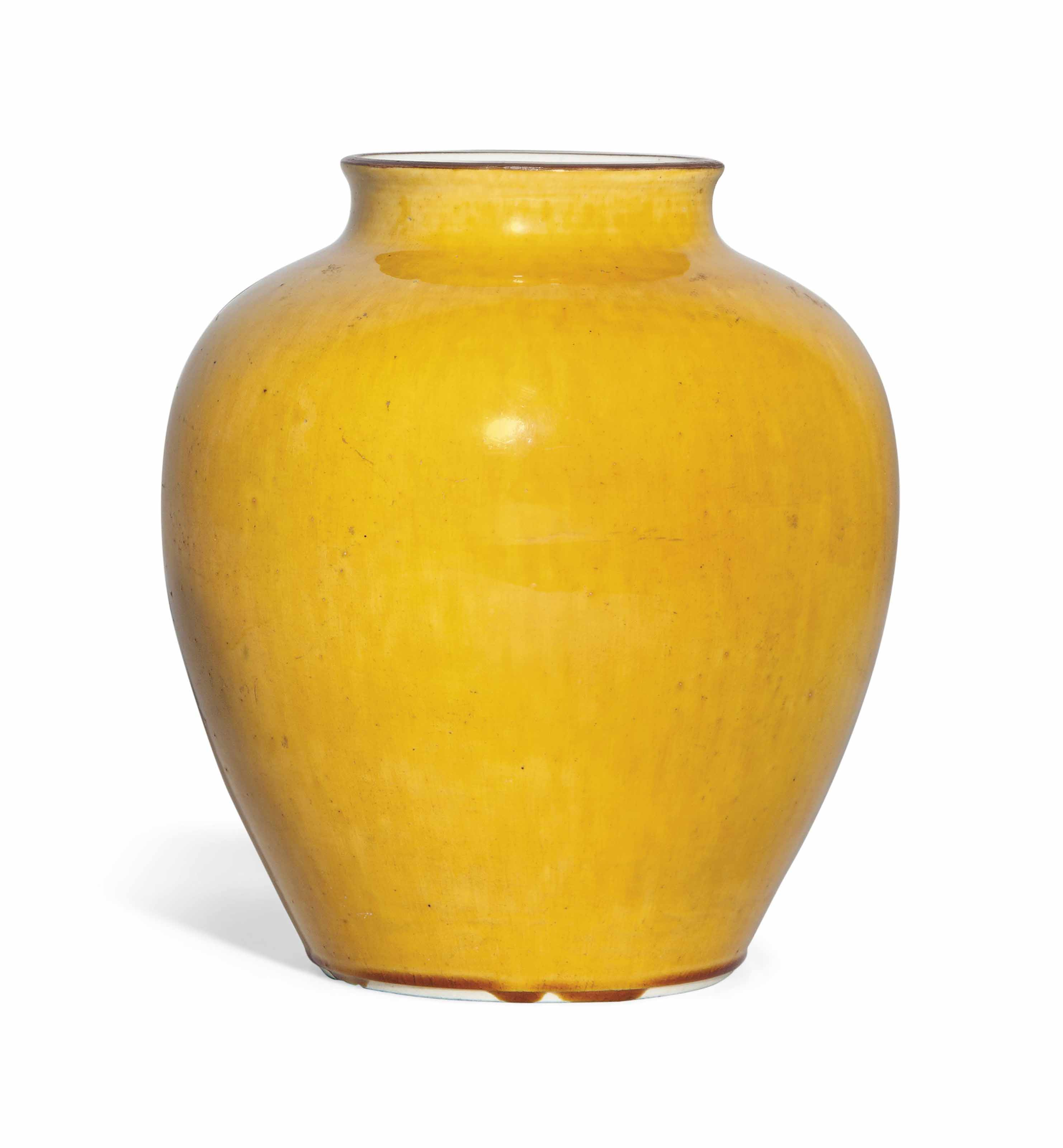 A MING-STYLE YELLOW OVOID JAR