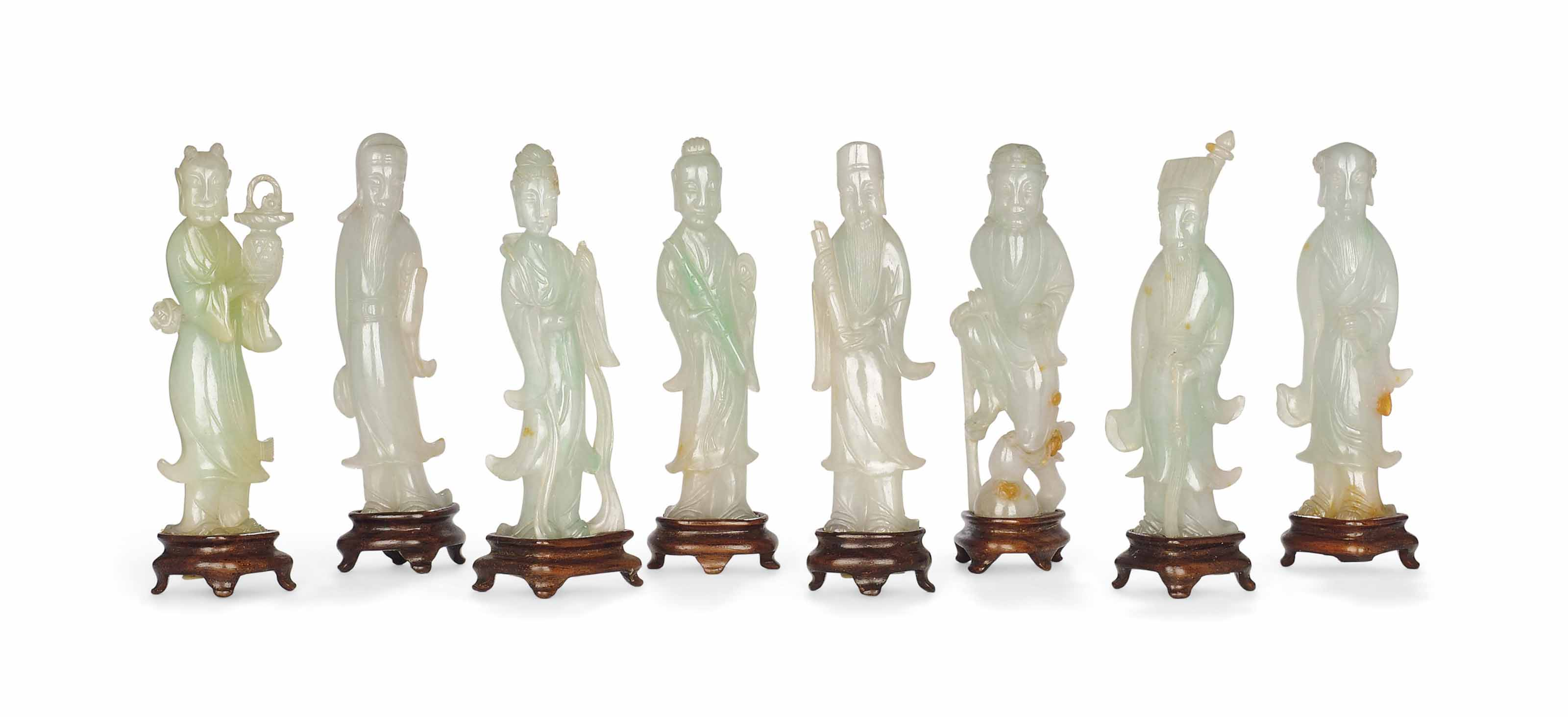 A SET OF JADEITE FIGURES OF TH