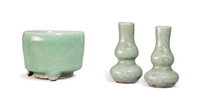 A PAIR OF MINIATURE CELADON-GL