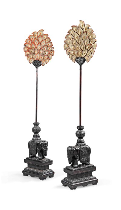 A PAIR OF STAINED HUALIMU ELEP