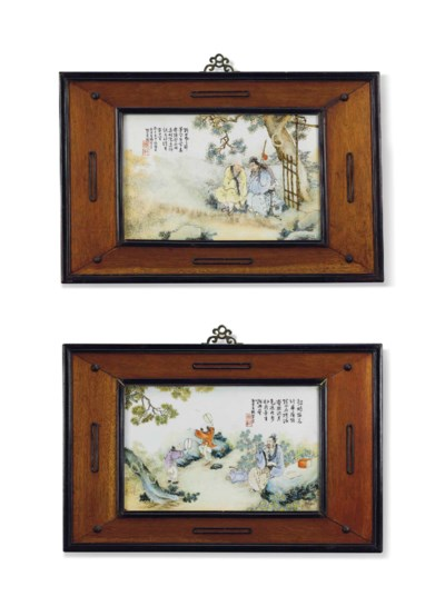 A PAIR OF FAMILLE ROSE PLAQUES