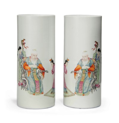 A PAIR OF FAMILLE ROSE CYLINDR