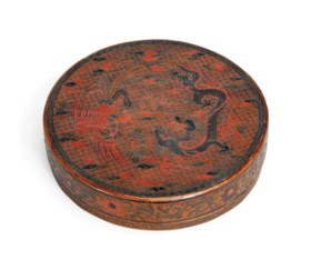 A TIANQI 'LACQUER DRAGON AND PHOENIX' CIRCULAR BOX AND COVER