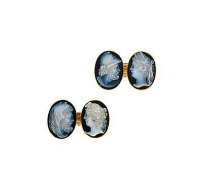 A pair of onyx cufflinks