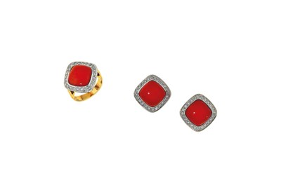 A coral and diamond earring an