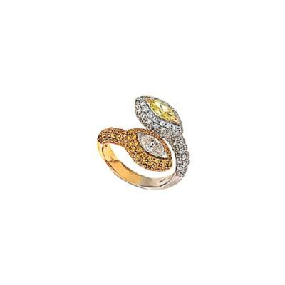 A diamond and coloured diamond