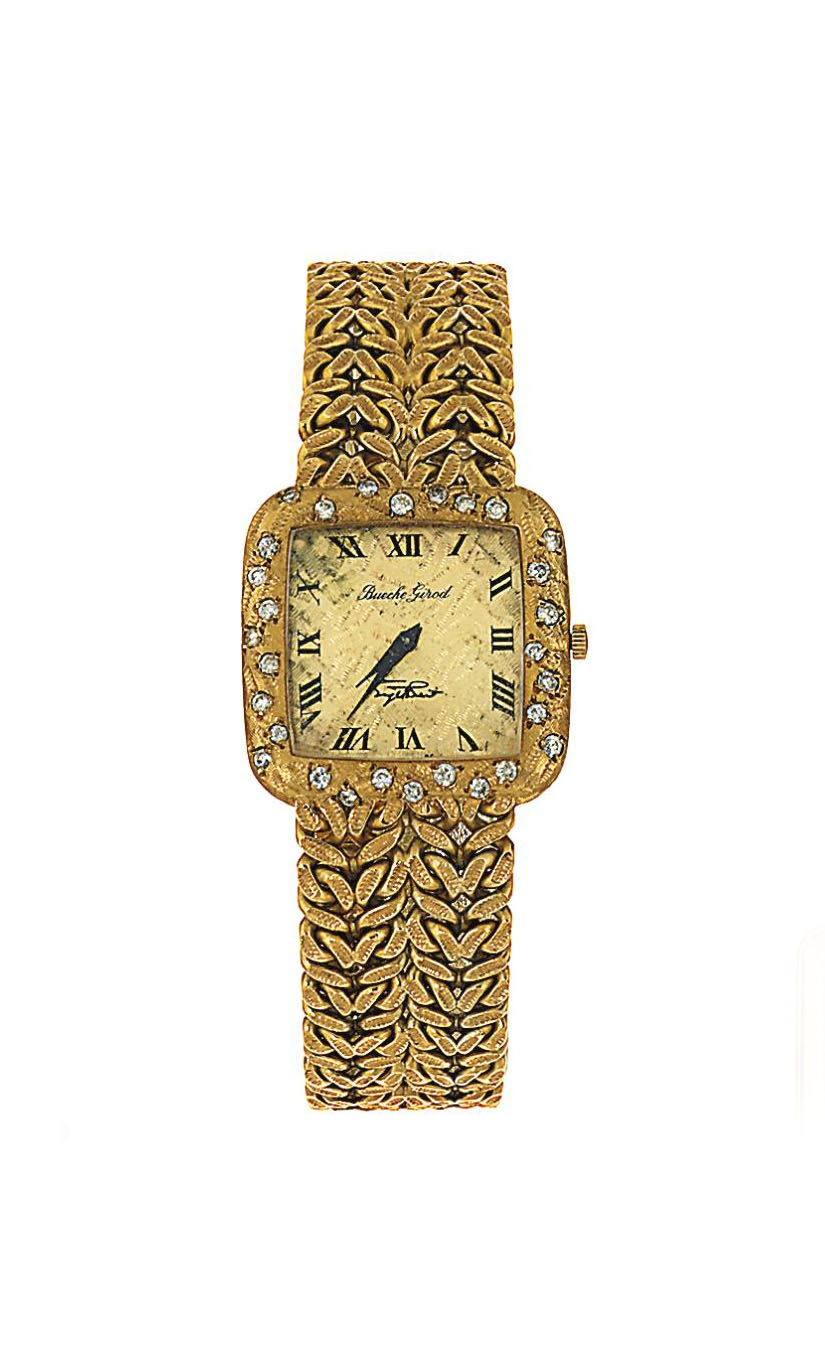 A diamond-set 18ct gold lady's wristwatch, by Bueche-Girod