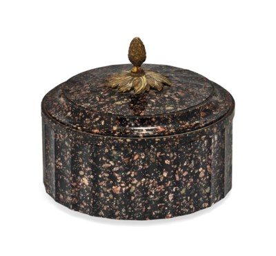A SWEDISH PORPHYRY BUTTER BOX