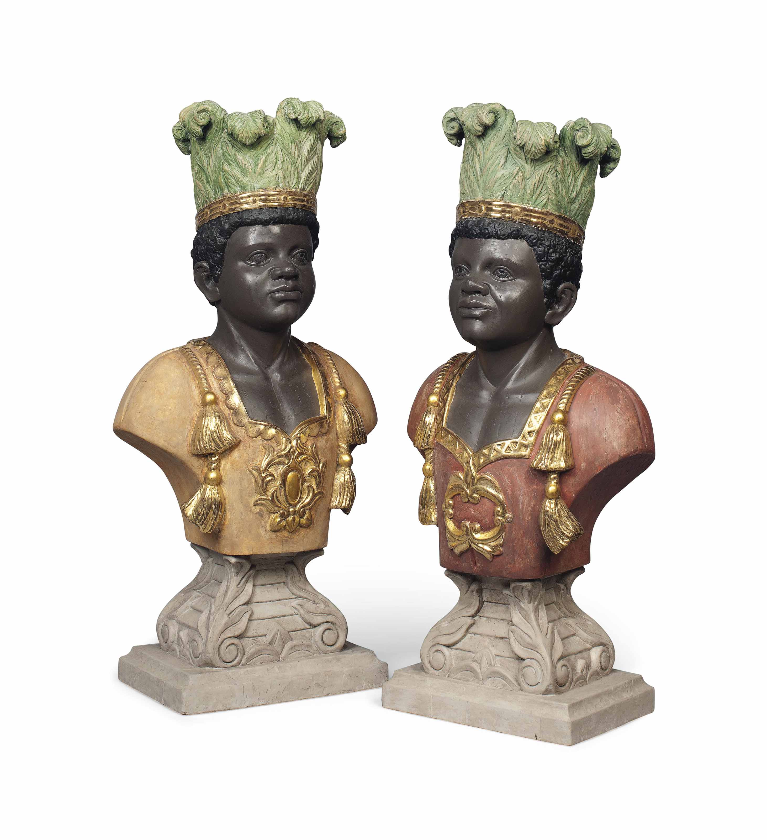 A PAIR OF PAINTED WOOD BUSTS O