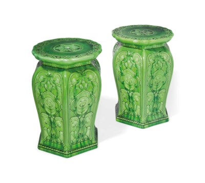 A PAIR OF MINTON GREEN-GLAZED