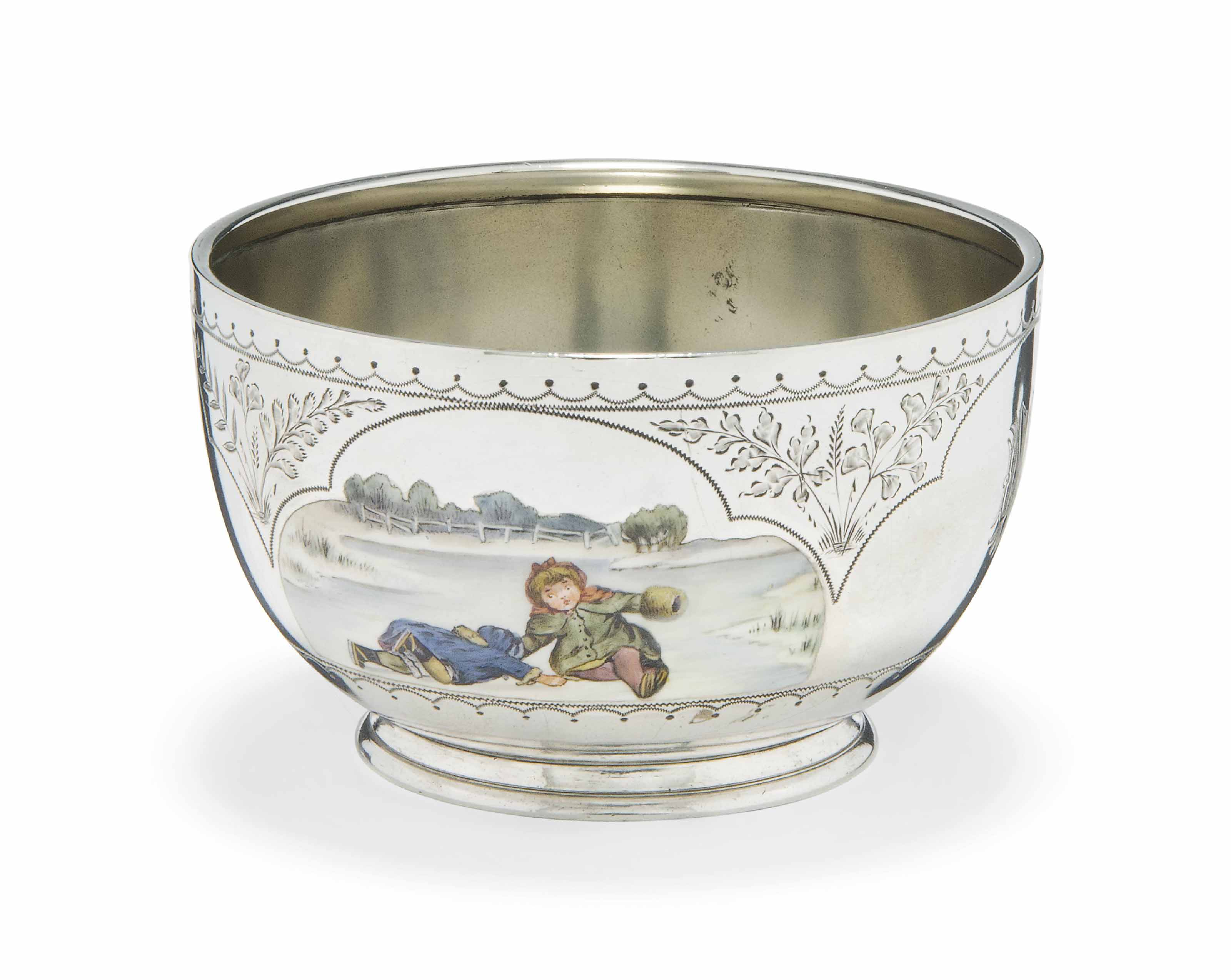 A VICTORIAN SILVER AND ENAMEL