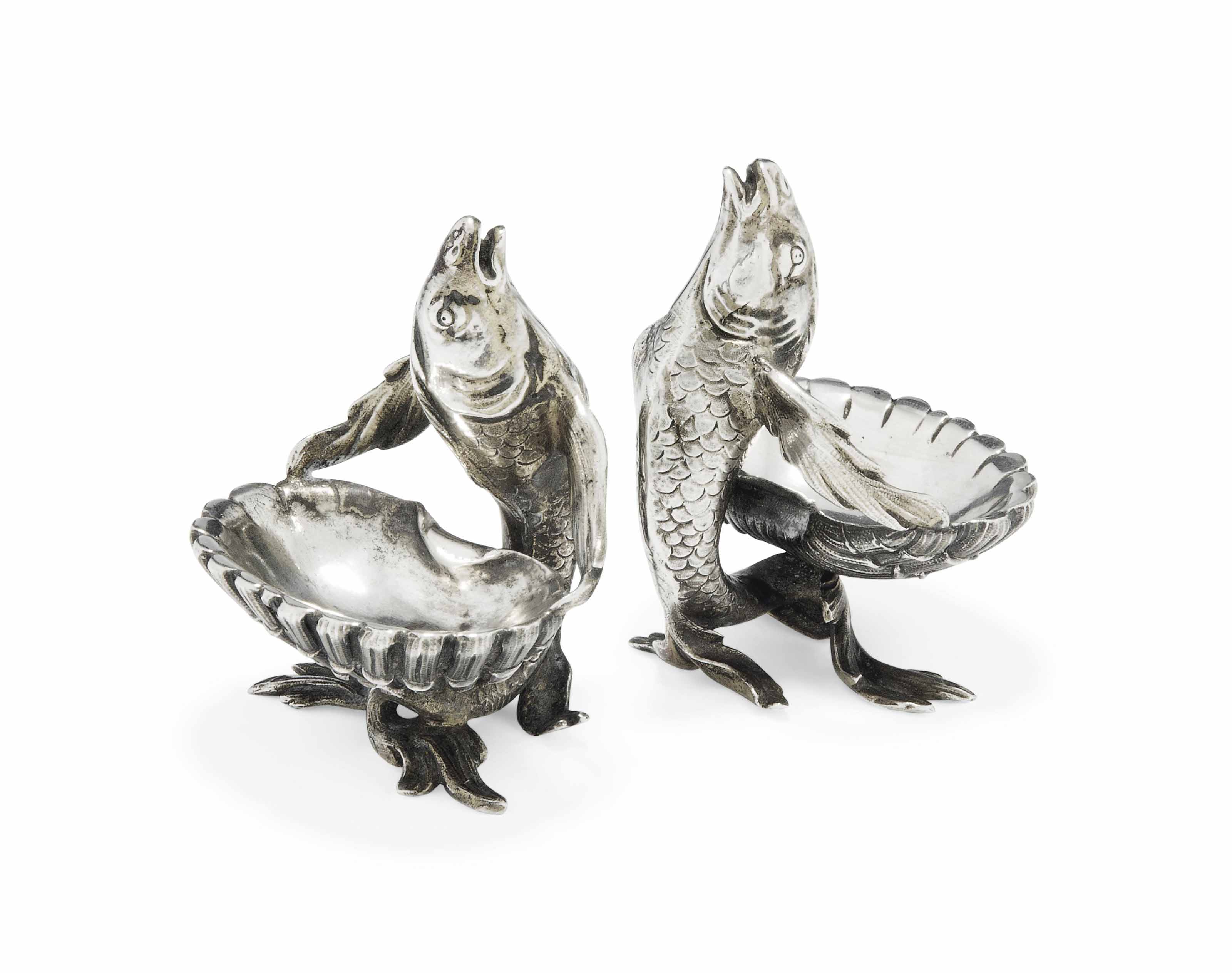 A PAIR OF FRENCH CAST  SILVER-