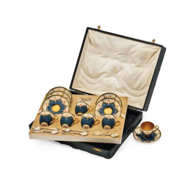 A ROYAL WORCESTER CASED COFFEE