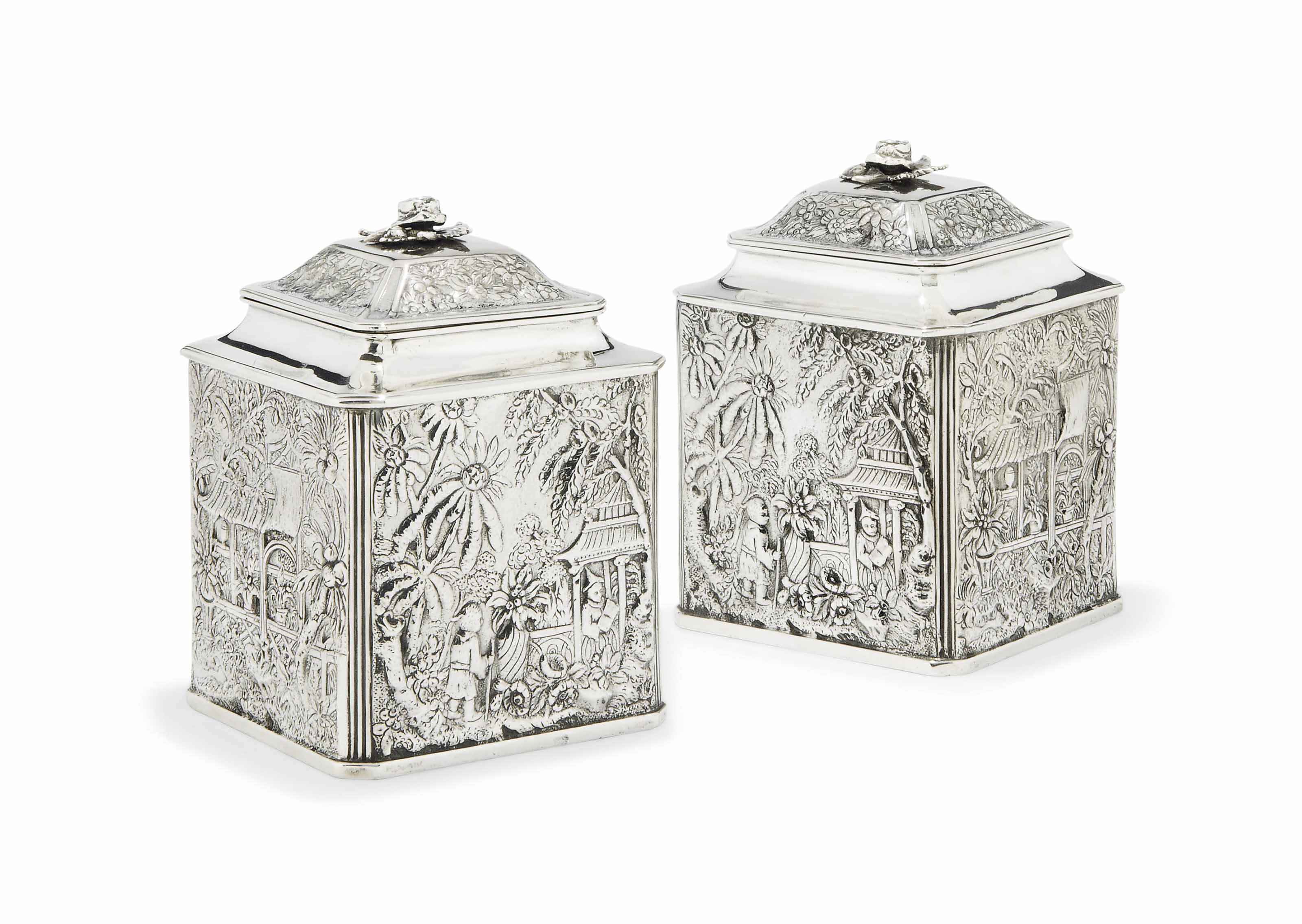 A PAIR OF CHINOISERIE SILVER T