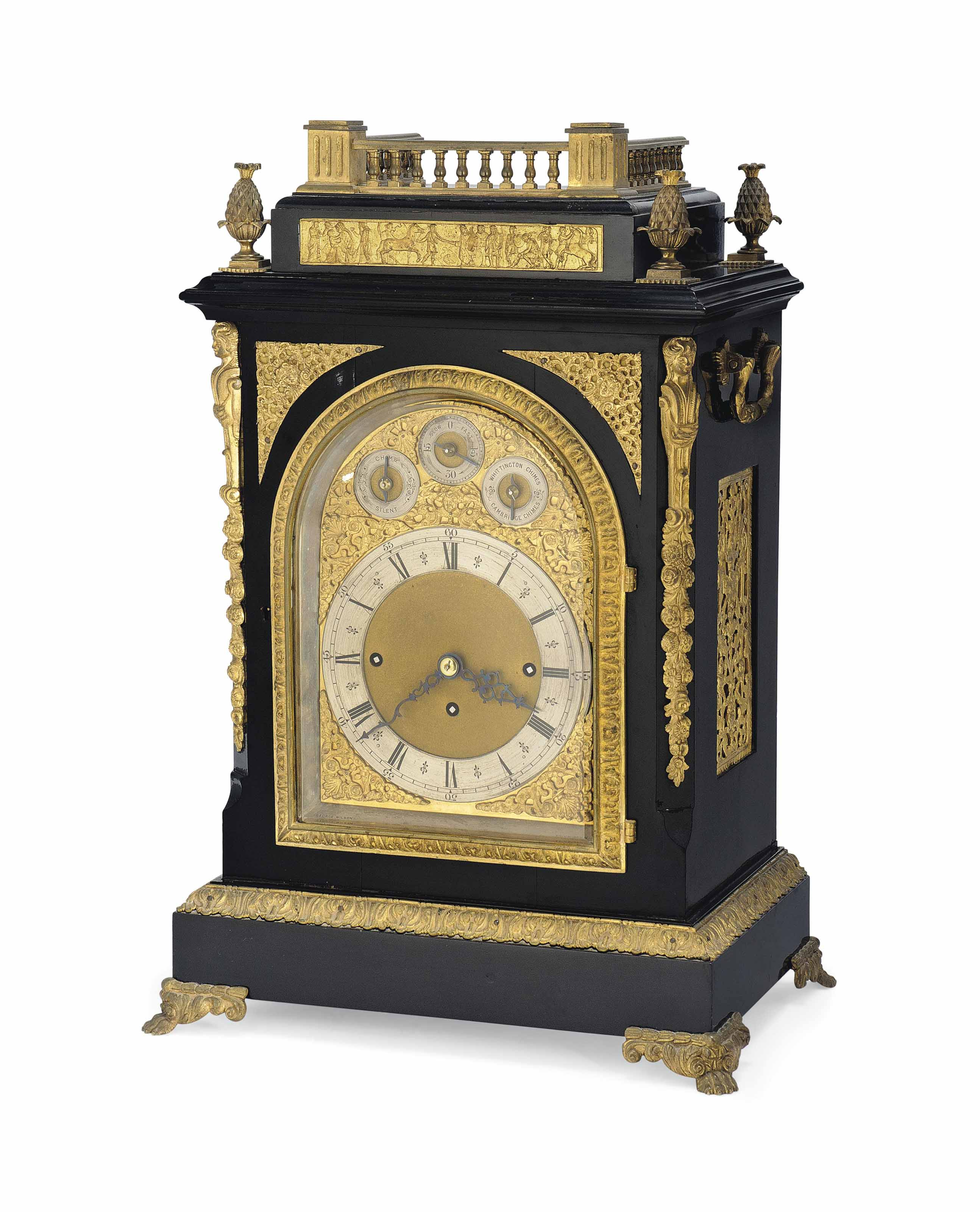 A SCOTTISH LATE VICTORIAN GILT-BRONZE MOUNTED EBONISED QUARTER-CHIMING DIRECTOR'S CLOCK