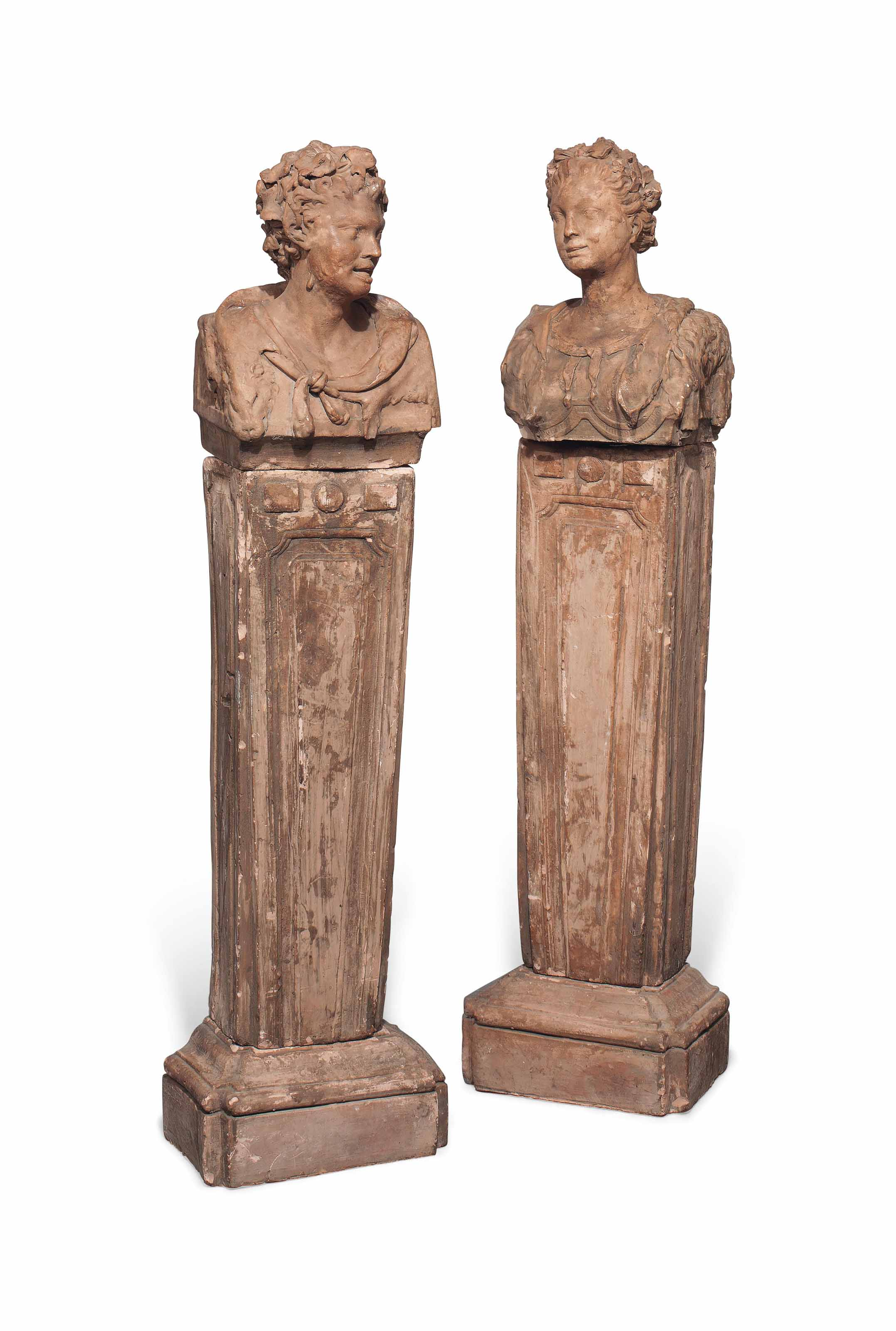 A PAIR OF TERRACOTTA  BUSTS OF