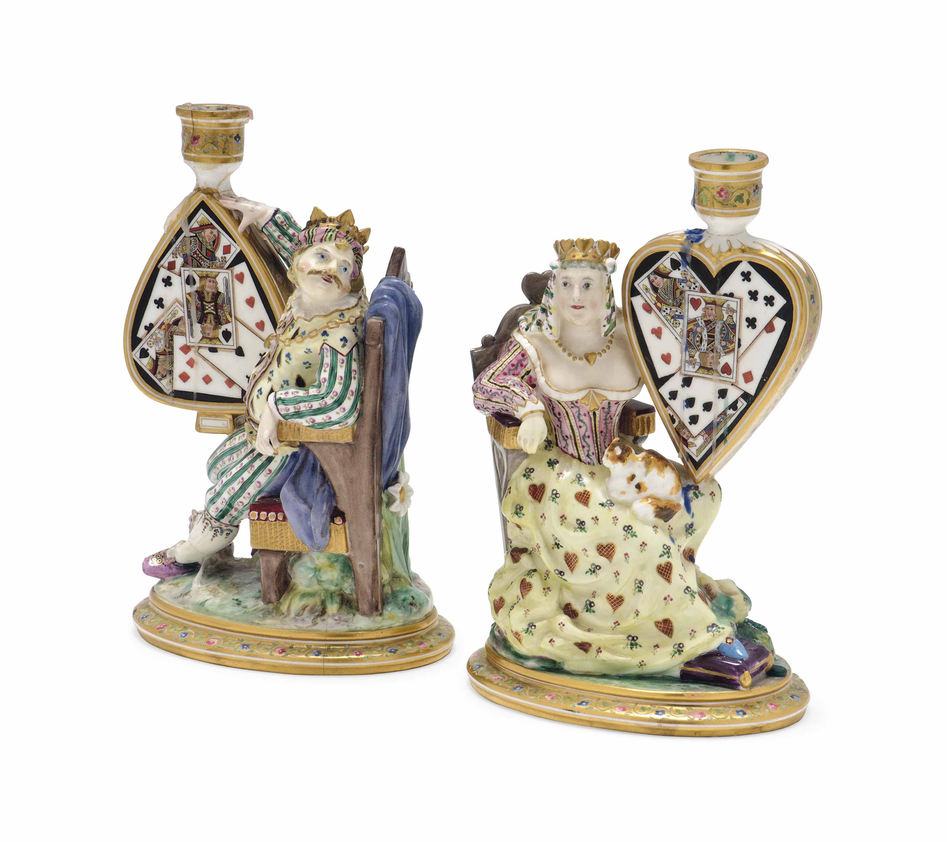 A PAIR OF MINTON FIGURAL CANDL