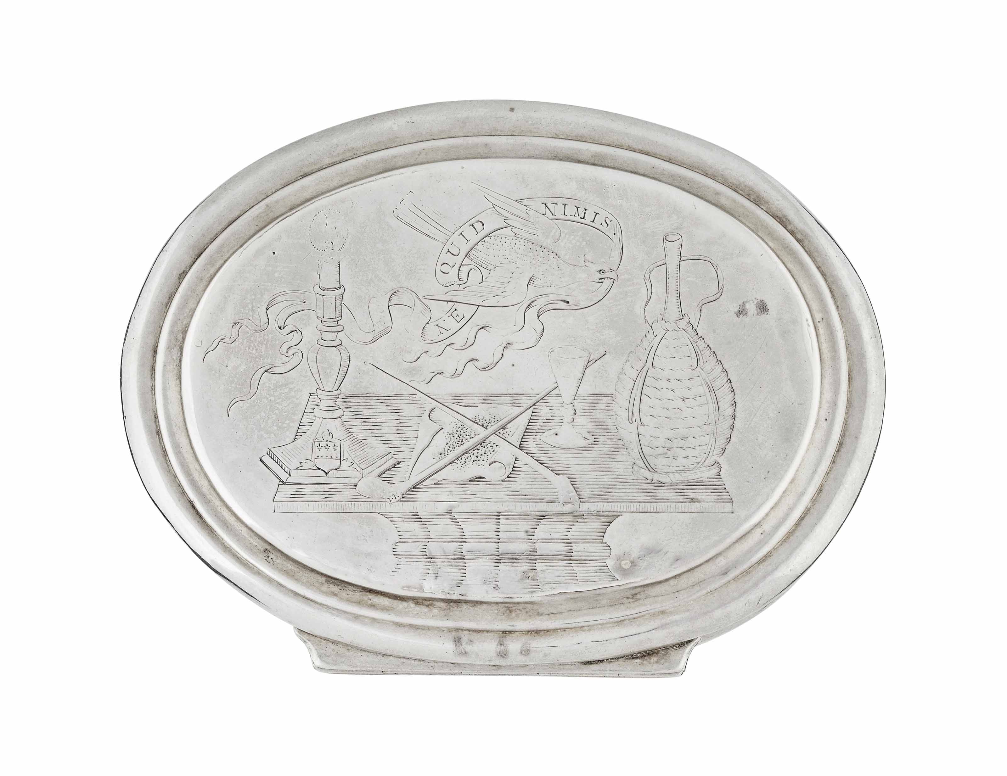 A GEORGE I SILVER OVAL TOBACCO