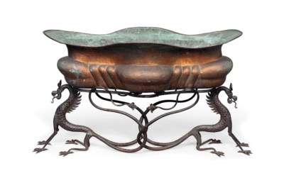 A COPPER AND WROUGHT IRON JARD