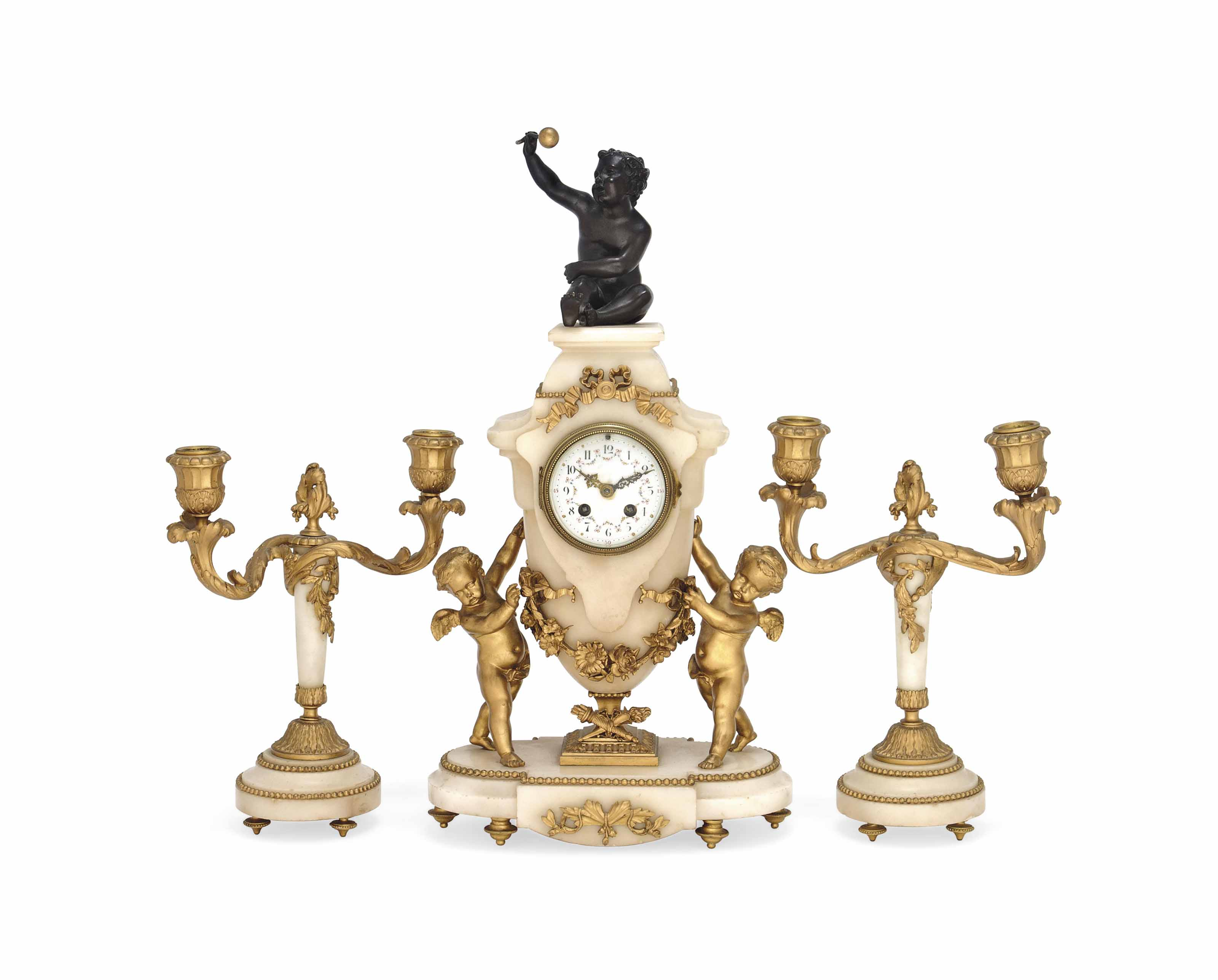 A FRENCH PATINATED AND GILT-BRONZE AND WHITE-MARBLE CLOCK GARNITURE