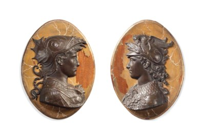 A PAIR OF BRONZE RELIEF BUSTS
